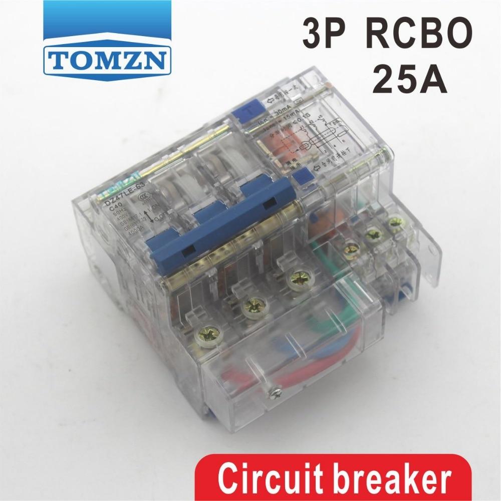 Elektrische Ausrüstungen & Supplies Begeistert Transparent Dz47le 3 P 25a 400 V ~ 50 Hz/60 Hz Fehlerstromschutzschalter Mit überstrom Und Leck Rcbo Leistungsschalter