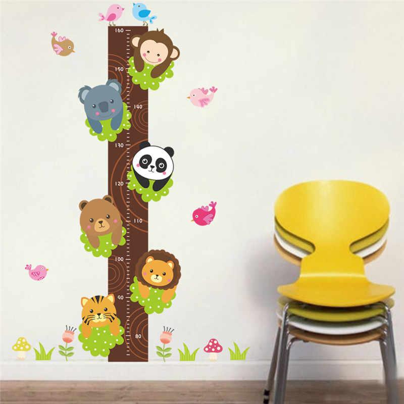Лес панда Тигр Лев обезьянки высота мерки наклейки на стену для детского сада