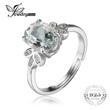 Jewelrypalace clásico 1.8ct anillo solitario blanco natural verde amatista cuarzo roca sólida plata de ley 925 de joyería de moda