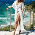 Summer White Beach Kimono Sexy Cover-Up Lace Patchwork Chiffon Bikini Swimwear Tunic Swimsuit Bathing Suit Cover Ups Pareo