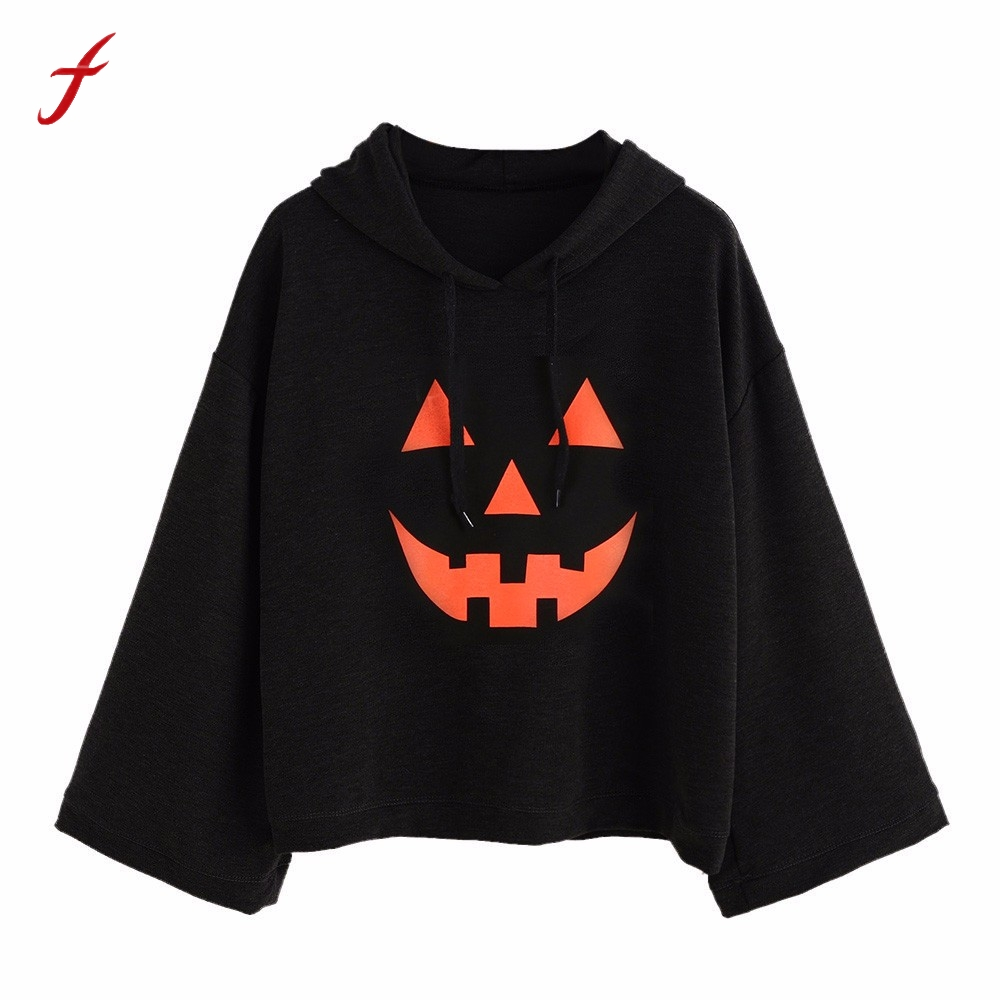Women Loose Plus Print Halloween Long Sleeve Hood font b Hoodies b font Tops Blusa Pullover