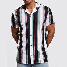 INCERUN рубашка моды летнего сезона, брендовая рубашка Для мужчин короткий рукав в полоску с отложным воротником с принтом Для мужчин свободного покроя для улицы платье новые модные просторные рубашки