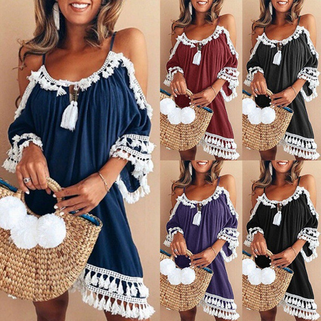 Vestido de playa de talla grande, Vestido con flecos, hombros descubiertos, Xxxl Xxxxl Xxxxxl, Vestido de verano para Mujer, Boheme Sukienka Letnia 2019