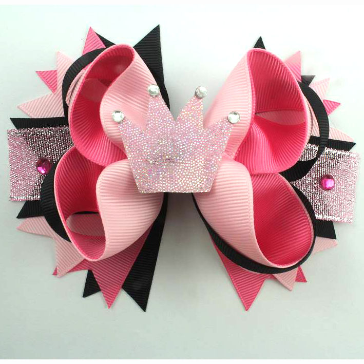 5 Inch Crown design  boutique Hair bows for little girls with hair clip