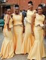 Fashion Design Gold Bridesmaid Dresses Mermaid Party Dress Vestidos Long Dama De Honor