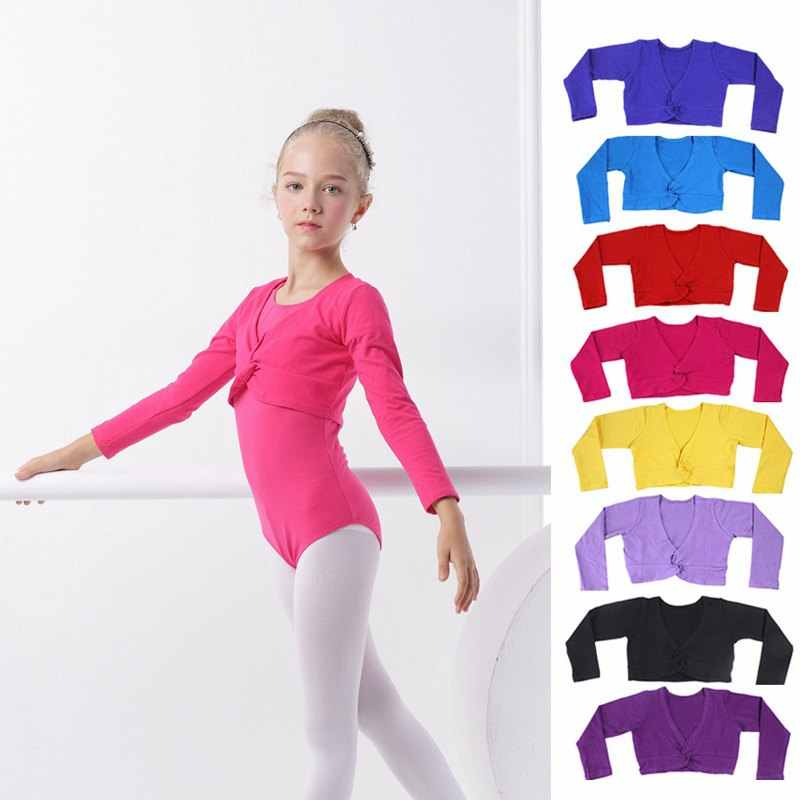a6eb44689 Girls Ballet Crop Tops Dance Leotards Coat High Waist Ballet Clothes  Children Long Sleeve Gymnastics Leotard