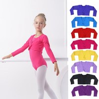 2016 Spring Autumn Girls Kids Long Sleeve Ballet Dance Jacket High Waist Outwear Coat Lycra Cotton