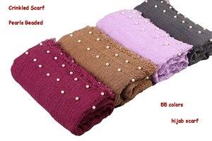 Image 3 - Yeni tasarımlar pamuk eşarp boncuk kabarcık inci kırışıklık şal başörtüsü örtüsü dikiş saçak buruşuk müslüman atkılar/eşarp 55 renk
