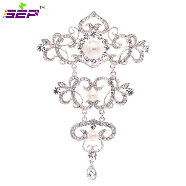Flor Broches para o Casamento Pinos Broche Broches de Cristal Strass Pérolas de Imitação Palácio Estilo Europeu de Design Da Marca 3899
