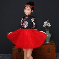2017 mùa đông Peking Opera Mặt Nạ Facial bé của cô gái cái yếm váy trẻ em váy cô gái quần áo năm kids trung quốc truyền thống váy