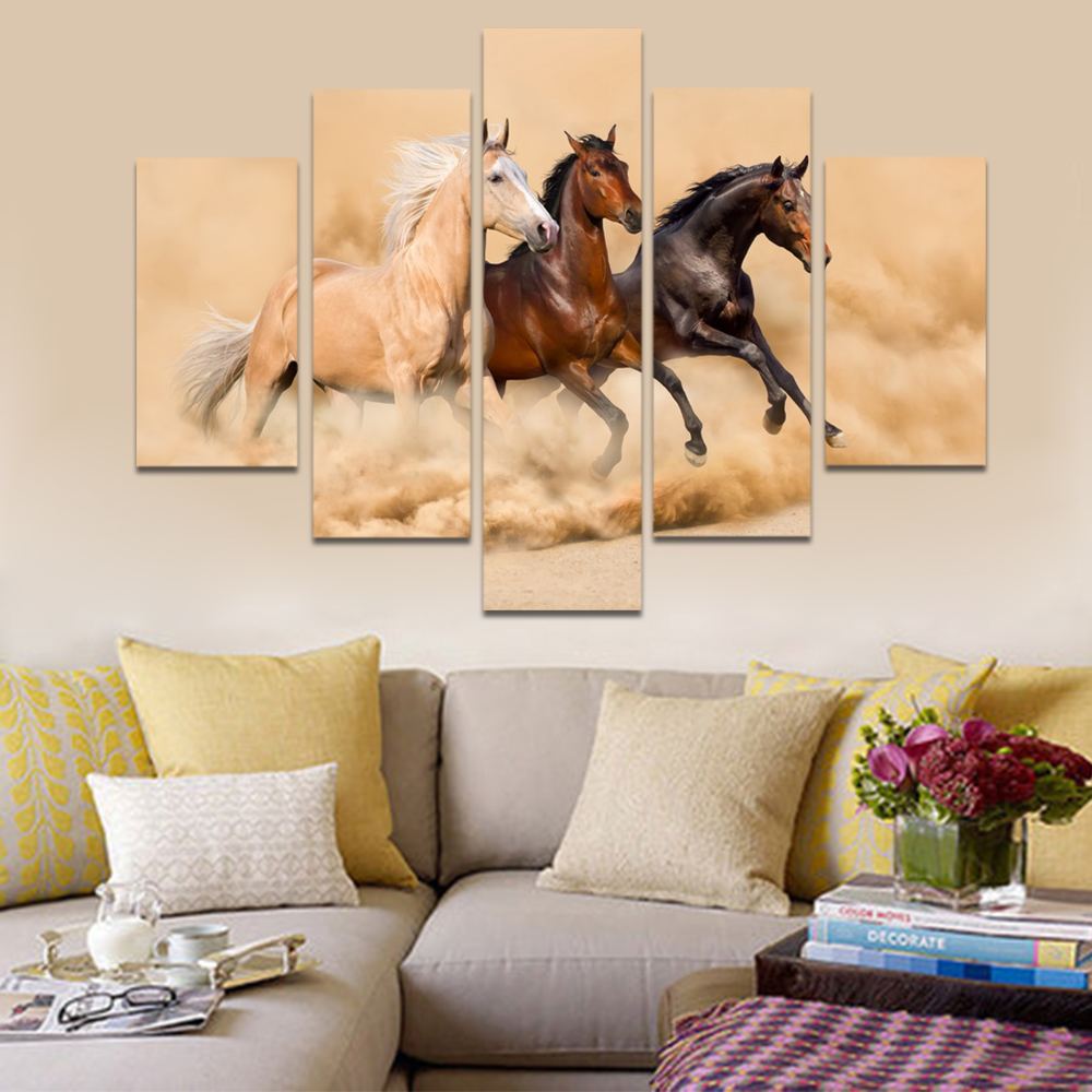 Unframed HD Print 5 Canvas Art Painting Running Horses Horse Living Room Decoration Painting Mural Unframed Custom Made