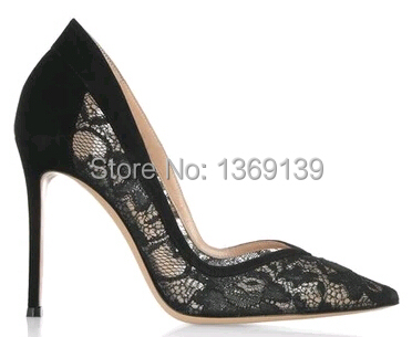 8376ff2c3c5b91 2015 Brand Design Stylish Black Lace Basic Pumps Sexy Pointed Toe Stiletto Heel  Pumps Party Wire Side High-Heels Pumps Drop Ship. Price
