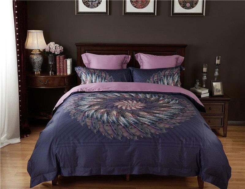 High count Egyptian cotton bohemia bedding sets Feather printing duvet cover set  bedsheet Pillowcase queen king size Bedlinen