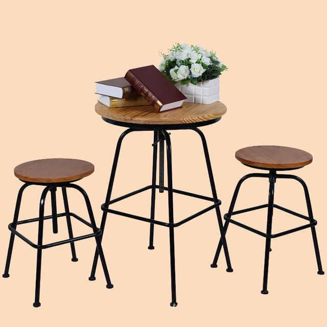 Excellent Natural Wood Furniture, Wrought Iron Outdoor Leisure Home Cafe  Tables And Chairs Adjustable Wood