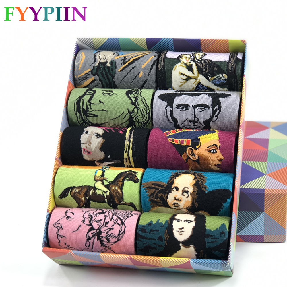 2020 Hot Sale Casual Mens Socks Men's Socks New Socks Celebrity Oil Painting Series Leisure Cotton Socks Man