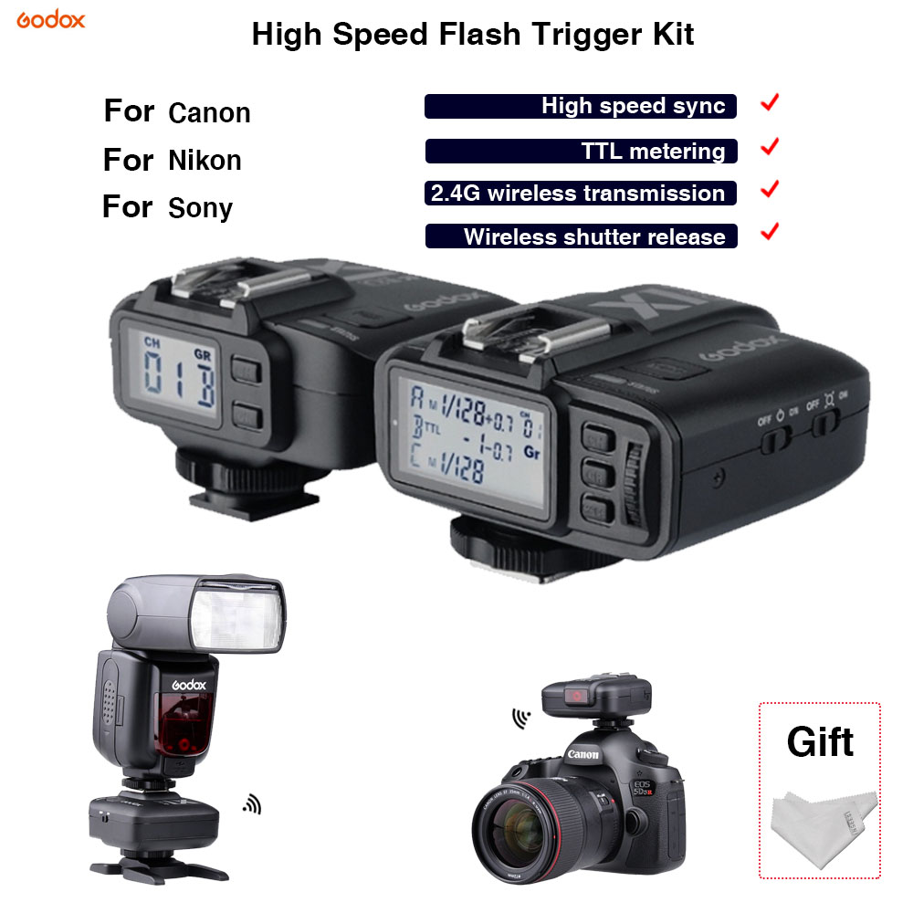 TTL Flash Trigger synchroniser Kit Godox X1C/N/S 2.4G Wireless shutter remote control Hot shoe tripod For Canon Nikon Sony