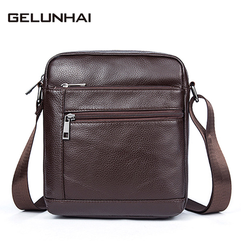 Gelunhai Genuine Leather Men Bag Male Messenger Bag Men Leather Shoulder Bags Small Ipad Holder Flap 2017 New Mens Crossbody Ba