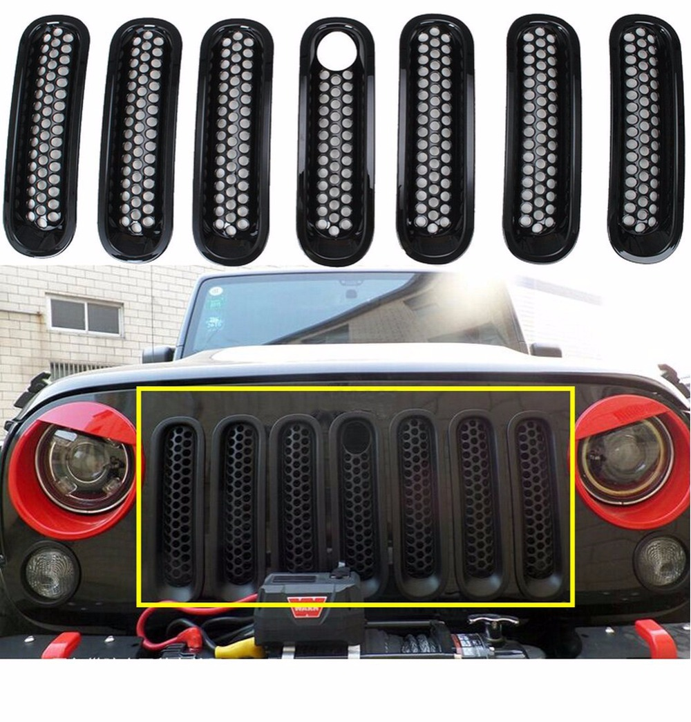 Black Front Grill Mesh Grille Insert with Key hole Fit Mopar hood lock For Jeep Wrangler Jk Rubicon Sahara & Unlimited 2007-2016 front grill mesh grill insert set cover front grille sticker racing grills trim for jeep wrangler jk 2007 2015