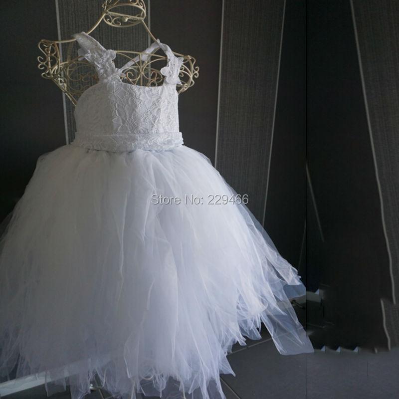 e72f7d6043c 2018 vintage dentelle rustique Blanc couleur bretelles spaghetti fluffy tulle  robe de bal robes de demoiselle pour mariages soirée partie