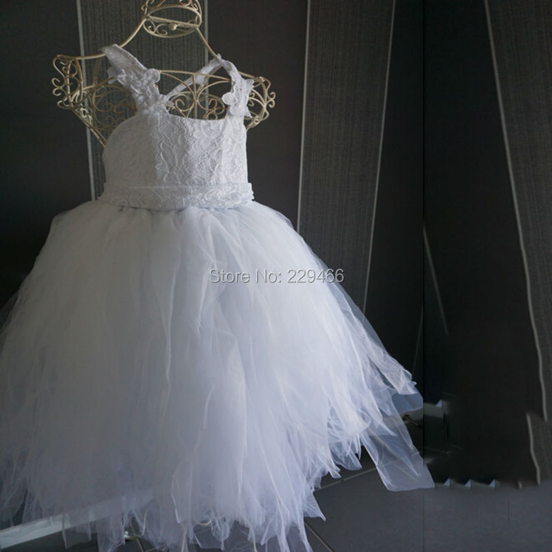 2018 vintage lace rustic White color spaghetti straps fluffy tulle ball gown   flower     girl     dresses   for weddings evening party