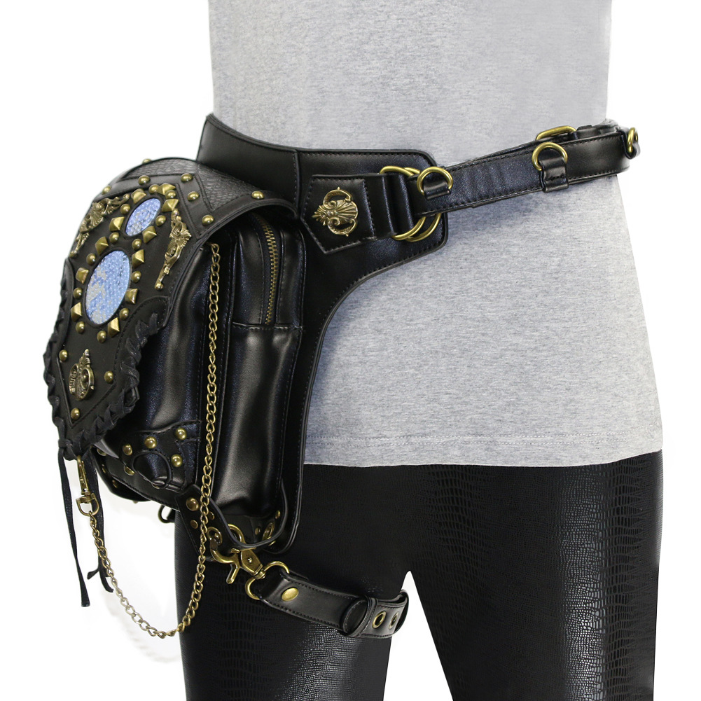 Women Vintage Steampunk Bag Retro Gothic Victorian Shoulder Bag Punk Waist Bag Motorcycle Bag Leg Bag Cosplay Costume Accessory
