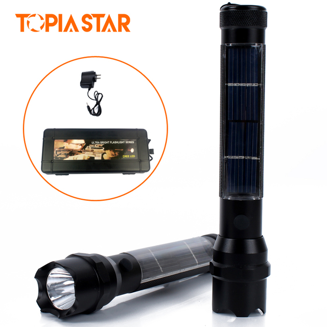 Topia Star High Working Light Rechargeable 3w Solar Led Flashlight Water Resistant Torch
