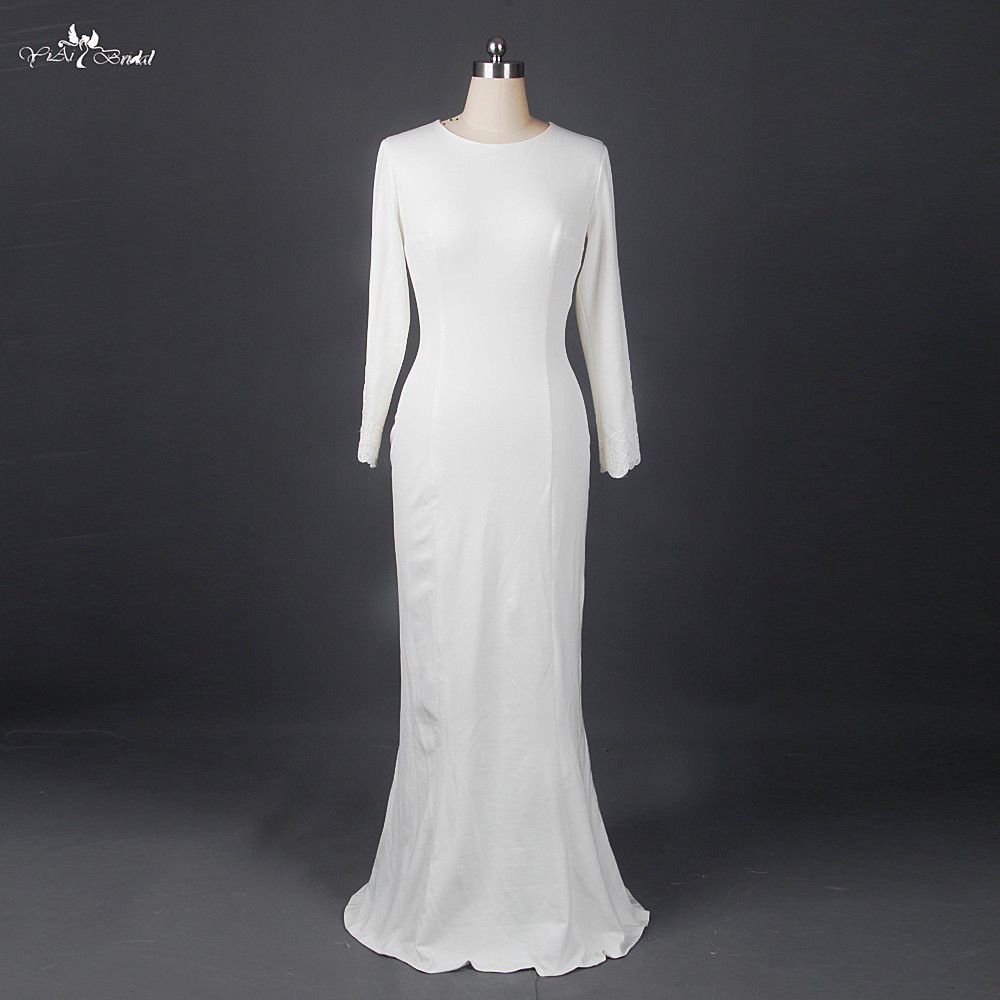 Rsw898 ivory crepe fabric simple long sleeve wedding for Simple long sleeve wedding dresses