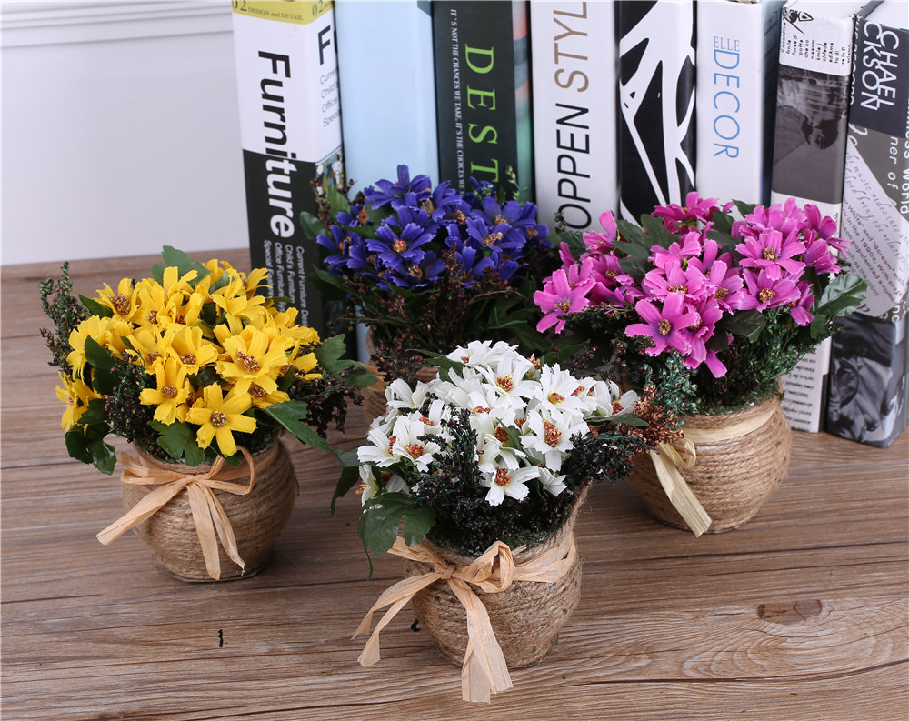 Aliexpress buy silk daisy flowers arrangementsvase decorative aliexpress buy silk daisy flowers arrangementsvase decorative artificial flower basket for wedding decorations party home table decorations from izmirmasajfo