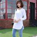 Nuevo invierno 2016 del otoño mujeres de la camiseta de manga larga del o-cuello color sólido camiseta de algodón delgado ocasional camisetas mujer tops largos tees
