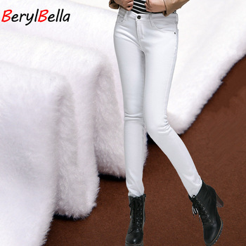 цены Casual Winter Women Pants Plus Size Warm Thicken Stretch High Waist Jeans Femme Trousers Fashion Slim Pencil Pants  BerylBella