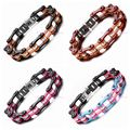 """Top White Crystal Shiny Rhinestones Multicolour 10mm Stainless Steel Men Women's Fashion Bicycle Motorcycle Chain Bracelet 7.87"""""""