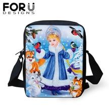 FORUDESIGNS Russia Snow Maiden Messenger Bag For Woman Kids Small Casual Crossbody Handbag Girls Travel Shoulder Tote