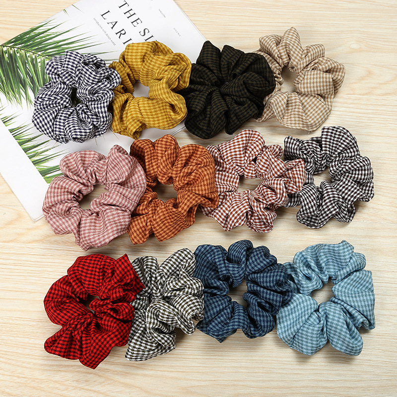 New Arrival 2018 New Fashion Winter Plaid Hair Bands Lovely Hair Scrunchies Girl's Cute Hair Tie Accessories Ponytail Holder