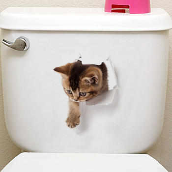 Cats 3D Wall Sticker Toilet Stickers Hole View Vivid Dogs Bathroom Home Decoration Animal Vinyl Decals Art Sticker Wall Poster 23