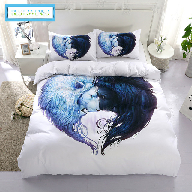 Best Wensd Lion Head Double Bed Set 3pc Soft Comfortable Husband Wife Bedding Quality Zipper Duvet Cover Sets King Single