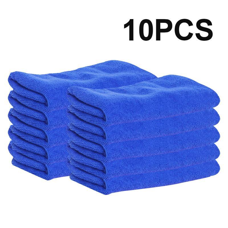 10pcs 25X25cm Microfiber Wash Clean Towels Car Cleaning Blue Cleans Cloths Car Furniture Remove Duster Soft Cloths Car-styling