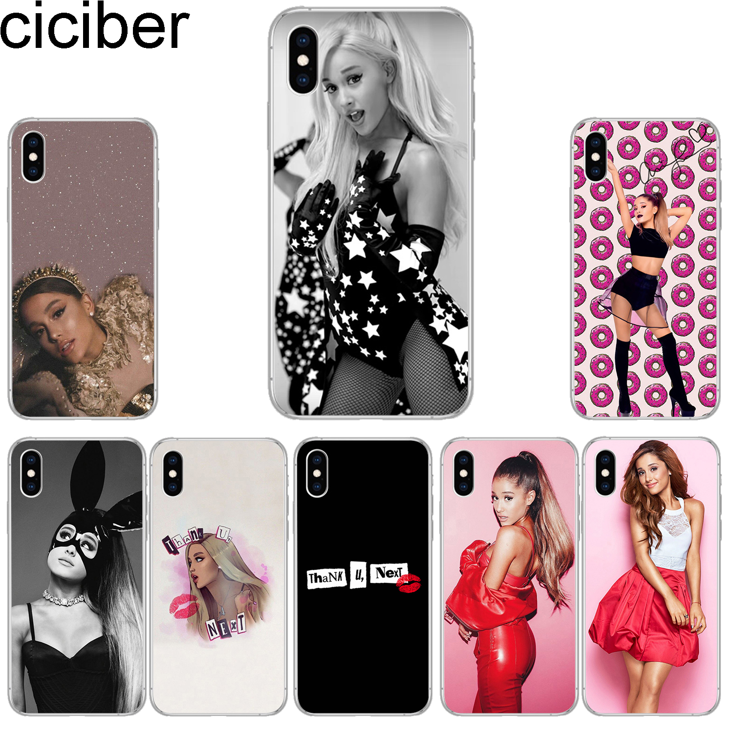 870187d1496 ciciber Phone Cases for iPhone 8 7 6 6s Plus SE 5s Soft TPU Back Cover for  iPhone X Xs XR XS Max Case Ariana Grande Coque Fundas