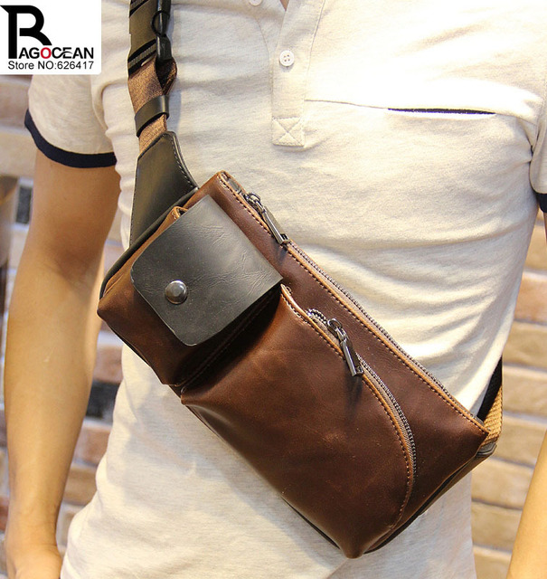 New Fashion Style Crazy Horse PU Leather Men Chest Pack Casual Small Bag CrossBody Shoulder Bag Leisure Travel Mini Bag 5 Colors