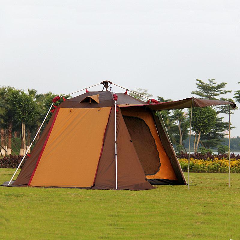 Nouvelle tente de poteau en aluminium automatique 3-5 personnes double couche pergola tente de camping en plein air tente familiale