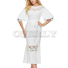 CUERLY Elegant Long Dress Women White Lace slash Neck Mermaid Sexy Hollow Lace-Up Bodycon evening Party Maxi Dresses