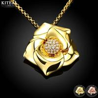Kiteal Fashion Africa Arabian Jewelry Zircon Necklace For Women Retro Gold Rose Color Big Flower Pendant