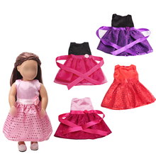 18 inch Girls doll dress 5 color Princess lace rose skirt American new born clothes Baby toys fit 43 cm baby accessories c36