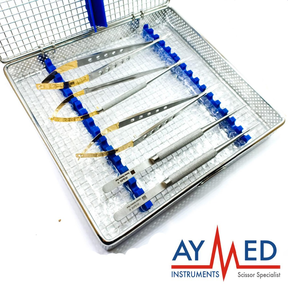 micro neurosurgery set with sterilization tray - 2 micro TC Castroviejo Scissors - 2 pieces micro forceps surgical Instruments