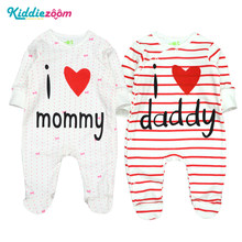 bfec7f4eea7 Newborn Boy Clothes Baby Rompers Infant Romper 100% Cotton Long Sleeve I  love Mommy Toddler Girl Love Clothing Pyjamas for Kids