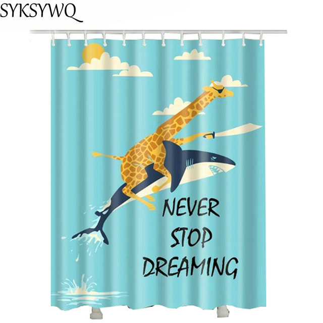 Deer Ride Dolphin Shower Curtain With Plastic Hooks 2018 Home Decoration 3d Bathroom Curtains