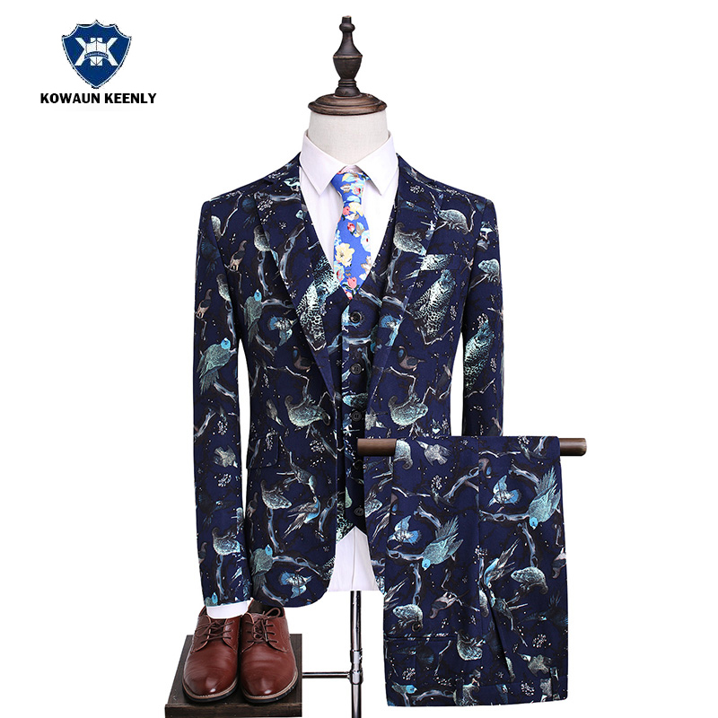 Stylish Luxury Mens Slim Fit Floral Suits with Pants Wedding Tuxedo Groom 3 Piece Navy Blue Party Stage Costumes For Singer Suit