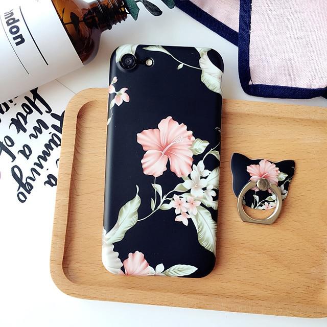 Retro flor case + anel de aperto case para iphone 6 6 s plus tpu soft case para iphone 7 7 plus case