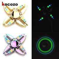 Tri Spinner Fidget With Luminous Toy Metal Fidget Spinner Rainbow Hand Toys Crabs Rotating Metal Four