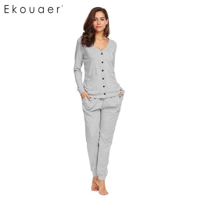 Ekouaer Women Casual Pajamas Set Sleepwear Cotton V-Neck Long Sleeve Button  Down Cardigan Top   Pants Pajamas Female Nightwear 780d72216