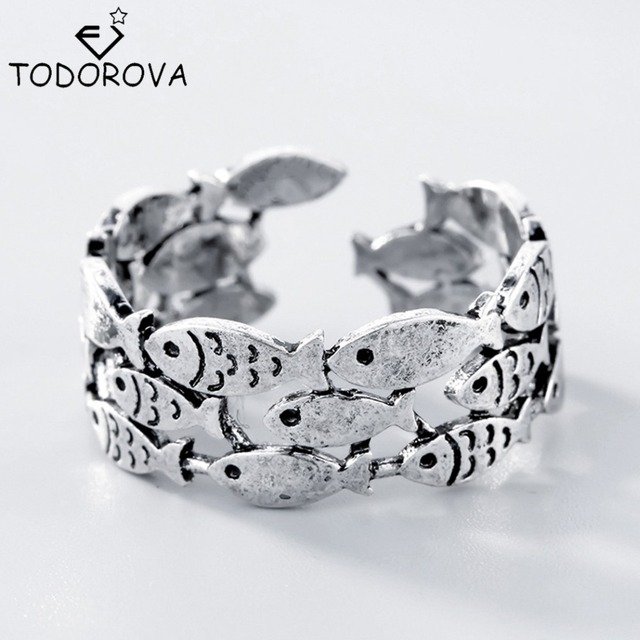 Todorova Real 925 Sterling Silver Fish Rings for Women Adjustable Wedding Ring F